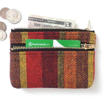 Stripe Wallet Coin Purse Double Zipper Pouch Wool