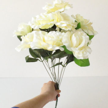 "GRAND SALE 12 Creamy Artificial Silk Roses Bouquet 18"" Branch Bush Flowers Wedding Bouquets Decoration Decor Green Leaves Accessory Flower A"