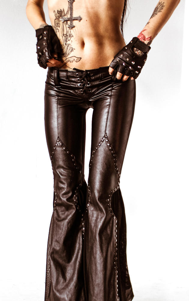 Toxic Vision Black Leather Flare Pants From Www