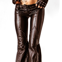 TOXIC VISION black leather flare pants — Toxic Vision