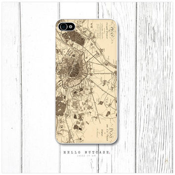 iPhone 4 and 4S case Vintage Paris Map