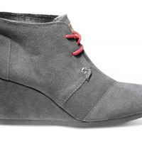 Charcoal Suede Pop Desert Wedges