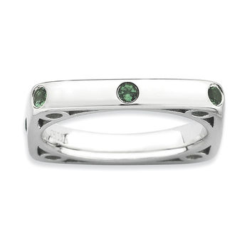 Sterling Silver Stackable Expressions Polished Created Emerald Square Ring