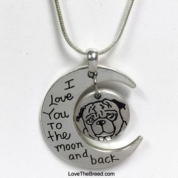 Pug Love to the Moon and Back Bead Necklace