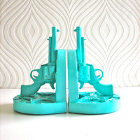 Set of 2 Gun Bookends in aqua