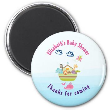 Cute Whimsical Zoo Animal Ark Baby Shower Thanks 2 Inch Round Magnet