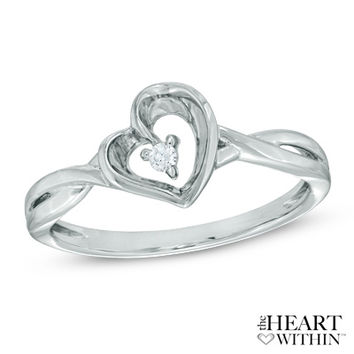 The Heart Within® Diamond Accent Tilted Heart Ring in 10K White Gold - Jewelry Rings - Gordon's Jewelers