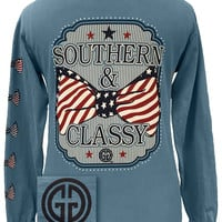 Girlie Girl Originals Southern Classy USA Bow Comfort Colors Ice Blue Long Sleeves T Shirt