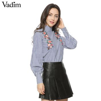 Women floral embroidery striped shirts buttons long sleeve turtleneck blouses ladies office wear casual tops