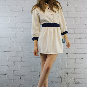 80s Vintage Dress S-M / 1980s Mini Leslie Fay Dress / White Deadstock Mini Dress