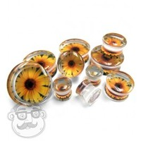 "Sunflower Clear Plugs (2 Gauge - 15/16"") 