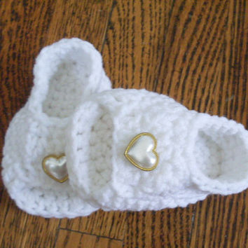 Baby Sandals, White Crochet Baby Shoes - 4 Sizes Available