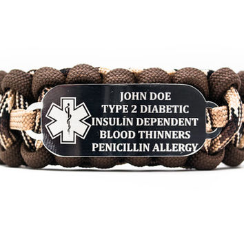 Personalized Engraved Medical Alert ID Paracord Bracelet with Stainless Steel ID Plate Includes Free Engraving