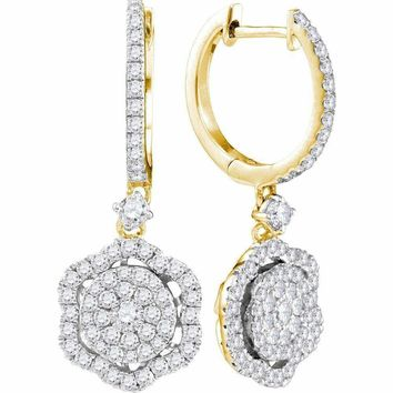 14kt Yellow Gold Women's Round Diamond Hexagon Frame Cluster Dangle Earrings 1.00 Cttw - FREE Shipping (USA/CAN)