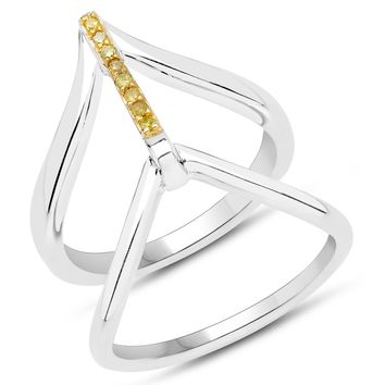 LoveHuang 0.06 Carats Genuine Yellow Diamond (I-J, I2-I3) Bridge Ring Solid .925 Sterling Silver With Rhodium Plating