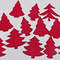 Red Velvet Christmas Trees -- Cut Out -- Paper Crafts for Scrapbooking -- Adjustable Sizes and Colors