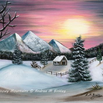 Snowy Mountains, Winter Sunset, Landscape with Snow, Original Acrylic Painting, Size 11 x 14 inches (27.9 cm x 35.5 cm)