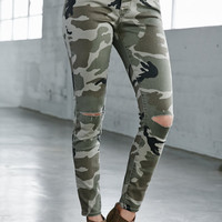 Bullhead Denim Co. Camo Ripped Mid Rise Skinny Jeans at PacSun.com