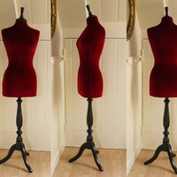Full Size Vintage Style Corset Laced Mannequin Display Velvet RED