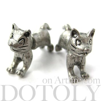 Fake Gauge Earrings: Cute Kitty Cat Animal Shaped Plug Earrings in Silver