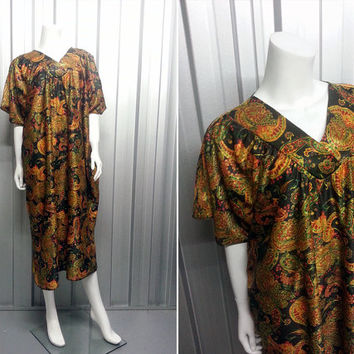 Vintage 70s Paisley Kaftan Hippie Gown One Size Short Sleeve Caftan Dress Boho Chic V Neck Ethnic Clothing Hostess Dress Maxi Festival