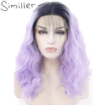 Similler Lace Front Wigs For Black Women Ombre Color Short Bob Synthetic Curly Hair Black To Purple Two Tones