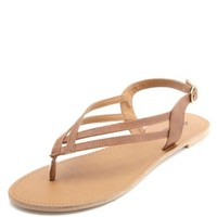 DOUBLE STRAP SLINGBACK THONG SANDALS