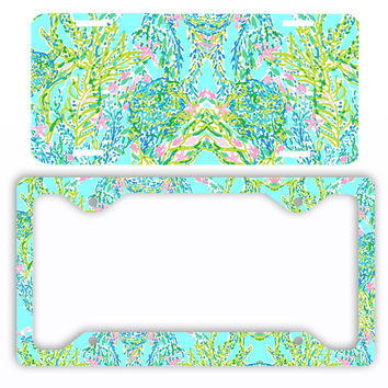 Aqua Pink Mint Ocean Pastels Paisley License Plate Frame Preppy Car Tag