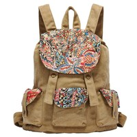 MapleClan Vintage Floral Women's Canvas Backpack Travel Bag