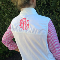 Women's White Vest Monogram Shown MASTER CIRCLE in Bright Pink
