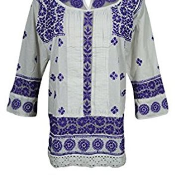Mogul Womens Indian Tunic Kurti White Floral Embroidered Cotton Boho Top Blouse