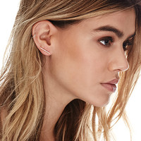 by boe Mini Linear Earrings Gold One