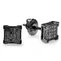 Sterling Silver Black Rhodium Plated 0.15 CT Diamond V-Prong Square Shape Mens Hip Hop Iced Stud Earrings (Black color, I1-I2 clarity)