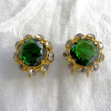 Vintage French Dress Clips, French Fur Clips, Spectacular Pair Art Glass Clips, Green Faceted stone, Paris Jewelry, Art Deco Jewelry