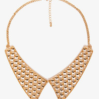 Cutout Pyramid Stud Bib Necklace
