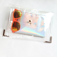 Transparent Clutch Transparent Bag PVC plastic Clutch - Purse - wallet - with Holographic Pouch Leather Clutch Leather bag