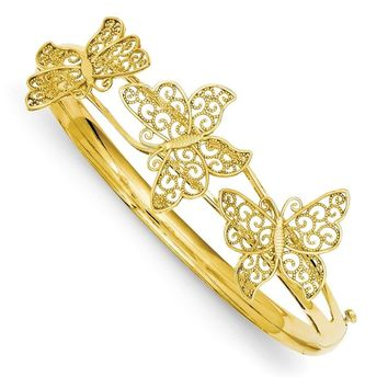 14K Gold Butterfly Bangle Bracelet