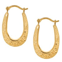 10K Yellow Gold Shiny Swirl Design Oval Hoop Earrings