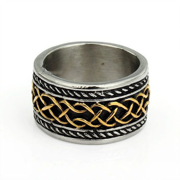 316L Stainless Steel Celtic Knot Black Gold Silver Tone Band Ring