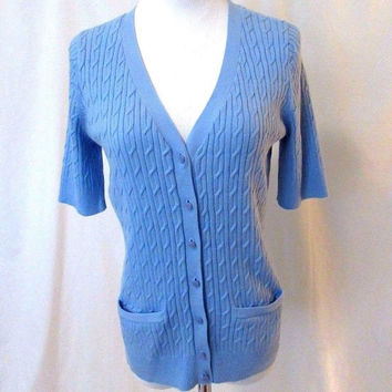 Talbots Petites Pima Cotton Cable Cardigan Sweater Women's Medium Blue