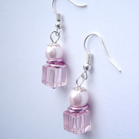 Rose crystal pearls earrings, Cubical crystal and pearl earrings, Rose Jewelry, Little unique Earring, Women unique Jewelry, Rose women Gift