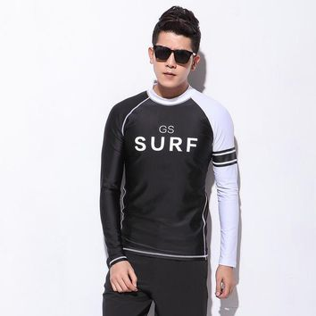 Surfing Surfer Slacker T-shirt Gsou Snow Brand Men Wetsuit Tops For Scuba Diving Surfing Snorkle Men Swimming Shirt Long Sleeve Hight Quality Rash Guard Shirts KO_12_1
