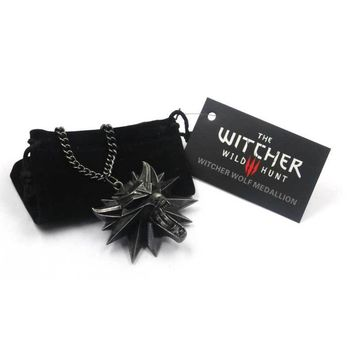 ZOEBER video game Witcher 3 Medallion Pendants Necklace Wolf Head Wizard Halloween Necklace&Pendants  with card