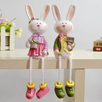 PEAPUG3 Home Decor Decoration Resin Animal Dolls Rabbit Set [4918499268]