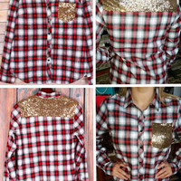 *RED PLAID BUTTON UP SHIRT WITH GOLD SEQUIN POCKET
