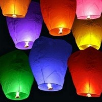 (Price/10 PCS)Purple Colored Wish Sky Lanterns (Wholesale Lot)