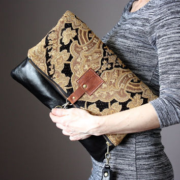Carpet leather bag, Large Leather foldover clutch, black leather bag, tapestry fabric and  leather clutch, large leather charm