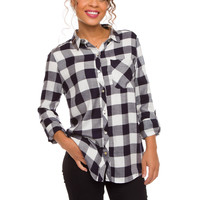 Penny Plaid Top - Navy