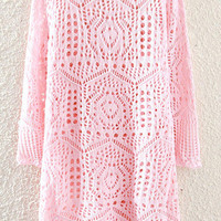 Pink Cut-out Knitted Dress