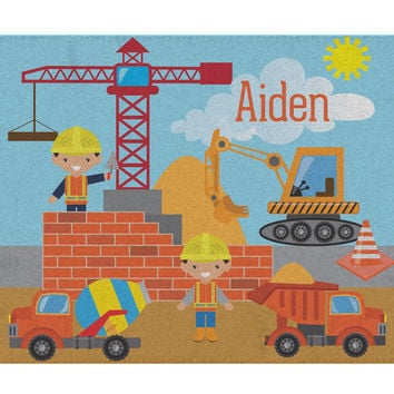 Construction Worker Personalized Activity Rug